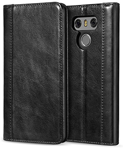 ProCase LG G6 Genuine Leather Case, Vintage Wallet Folding Flip Case with Kickstand and Multiple Card Slots Magnetic Closure Protective Cover for LG G6 2017 -Black (Lg Leather Case Access Phone)