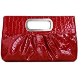 Chicastic Oversized Glossy Patent Leather Casual Evening Clutch Purse with Metal Grip Handle