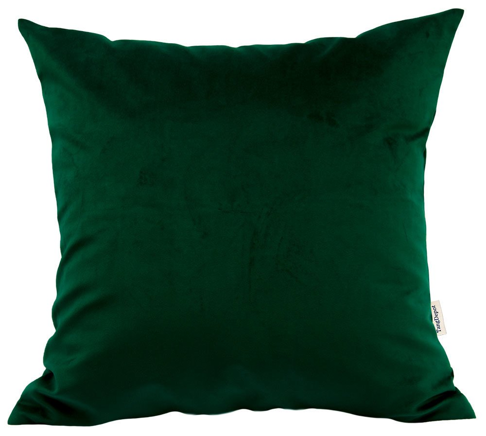 TangDepot Solid Velvet Throw Pillow Cover/Euro Sham/Cushion Sham, Super Luxury Soft Pillow Cases, Many Color & Size options - (18''x18'', Dark Green)