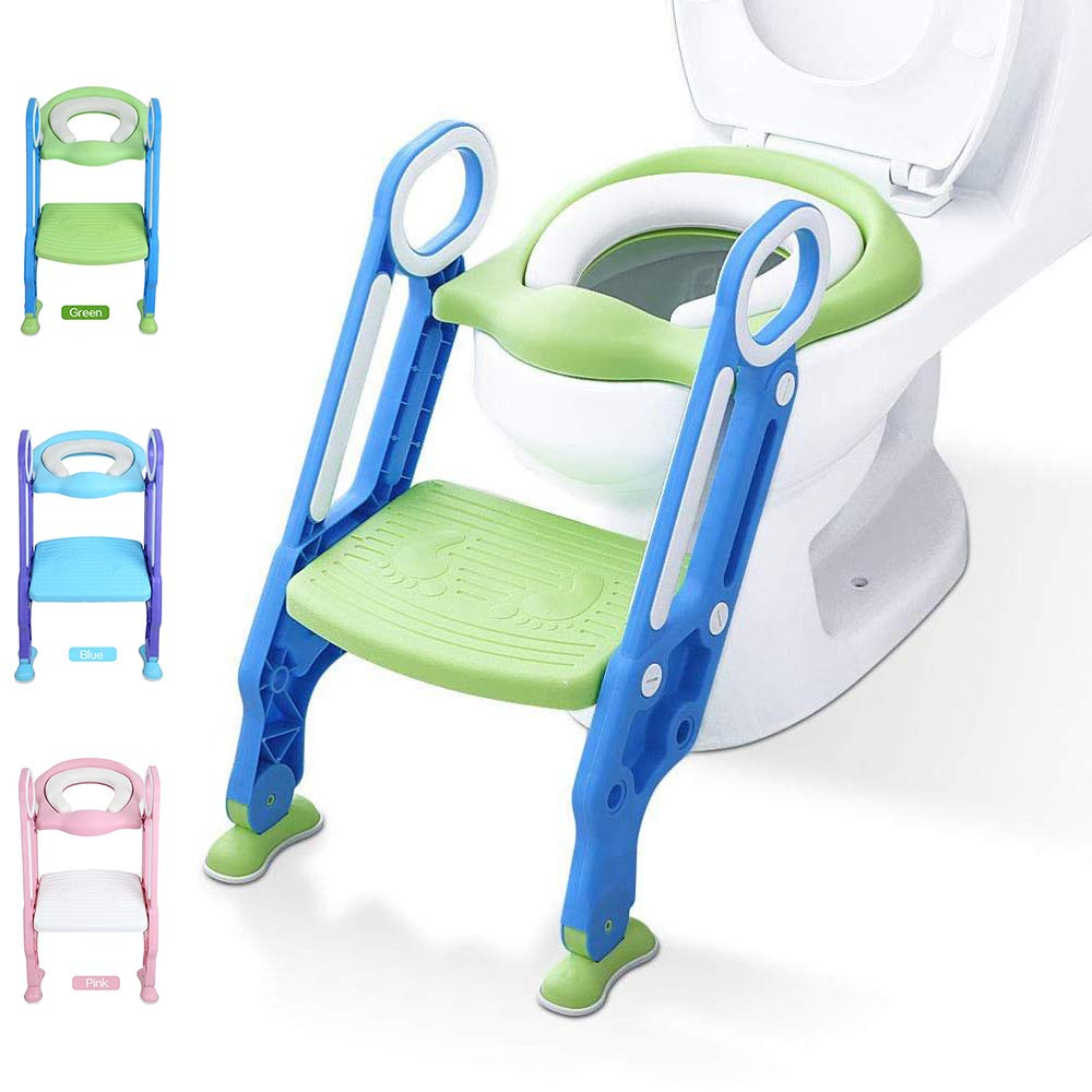 Potty Training Toilet Seat with Step Stool Ladder for Kid and Baby, Adjustable Toddler Toilet Training Seat with Soft Anti-Cold Padded Seat, Safe Handles and Non-Slip Wide Steps, Blue Green for Kids by KATARUS