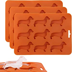 Ice Cube Tray 3 Pack Dog Dachshund Shaped ISKM Silicone Ice Cube Molds, Chocolate Mold Flexible Ice Maker for Bar Party Dishwasher Safe BPA Free (Orange)