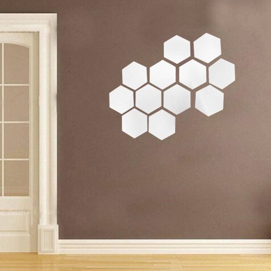 Mirror stickersvneirw 12pcs mirror hexagon 3d diy acrylic home decor art wall stickerswall stickers living room 3d mirrorwall stickers for bedroomswall