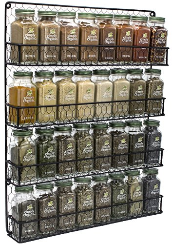 Sorbus Spice Rack Organizer [4 Tier] Country Rustic Chicken Herb Holder, Wall Mounted Storage Rack, Great for Storing Spices, Household Items and More (Black) (Rack Traditional Jar)