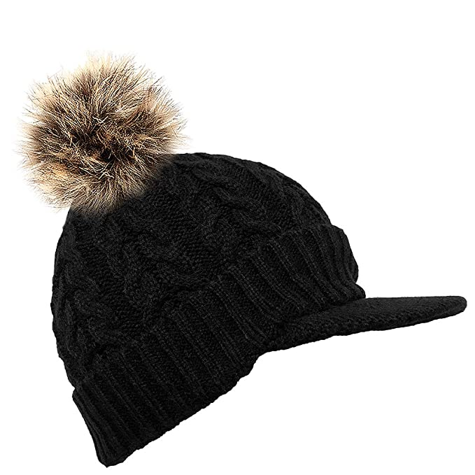 40c4daf83b3 DINZIO® Unisex Warm Cosy lined Knitted Peaked Beanie Baseball cap with faux  fur pompom-black  Amazon.co.uk  Clothing