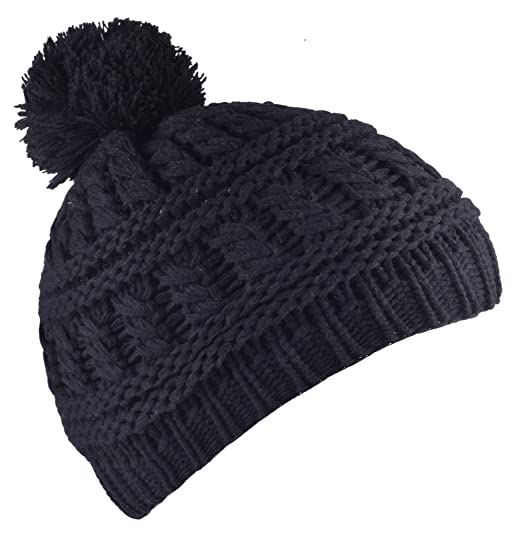 55b6dca8d2b2b YJDS Women s Cable Knit Pom Pom Winter Beanie Hats Stocking Cap Black