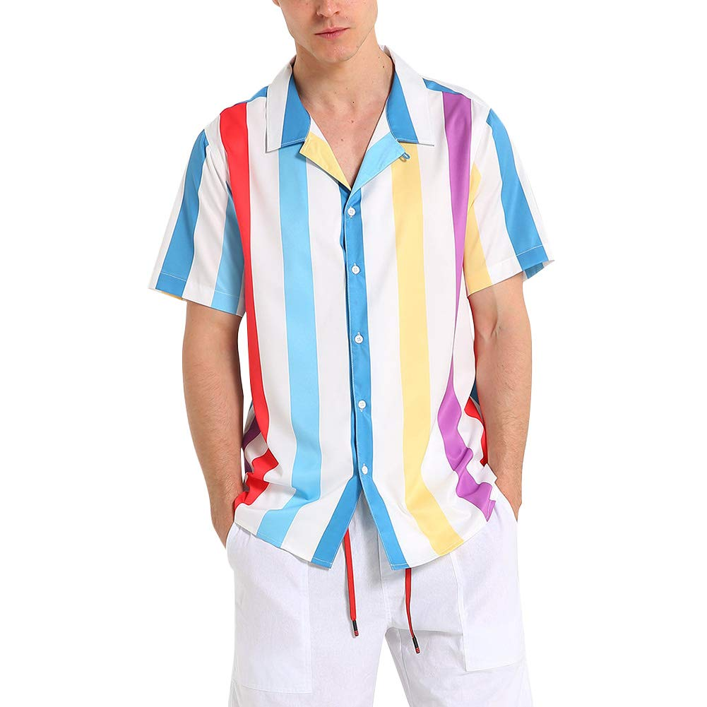 Mens Slim-fit Short-Sleeve Stripe Shirt Casual Button Down Aloha Hawaiian Shirt