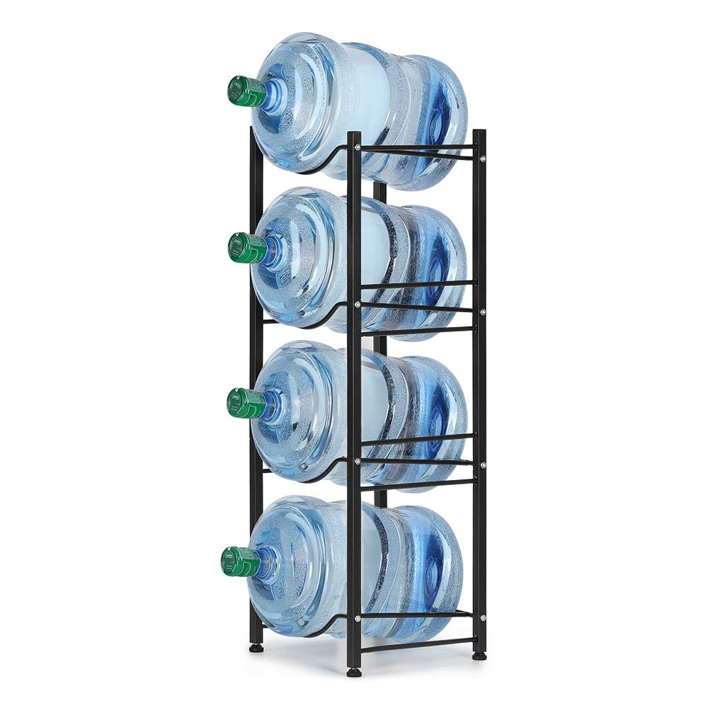 Water Jug Bottle Rack, 4-Tier Stackable Water Cooler Storage Containers, Home Office Holder for 5 Gallon Water (Bronze) by HEOMU