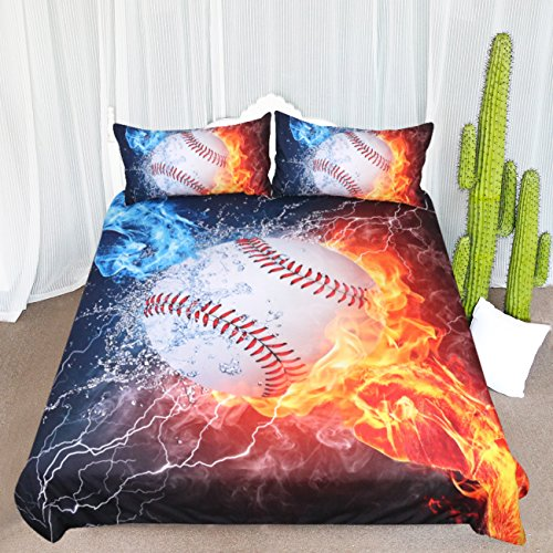 ARIGHTEX Baseball Fist Bedding Set Ball on Fire and Ice Duvet Cover Kids Bedspreads Boys Sports Bedding Spread (Pattern 1, Full) ()