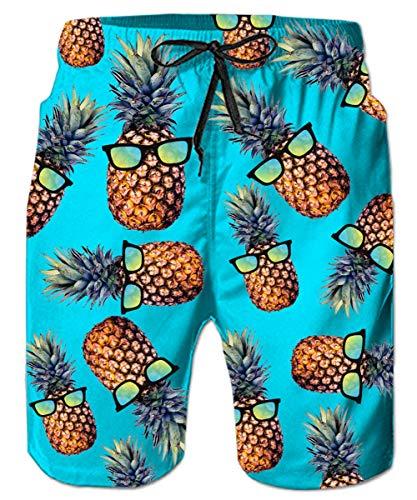 Freshhoodies Mens Hawaiian Swim Trunks Pineapple Boardshorts Novelty Swimwear Bathing Suits Shorts (Beach-11, Medium) - Trip Floral Shirt Day