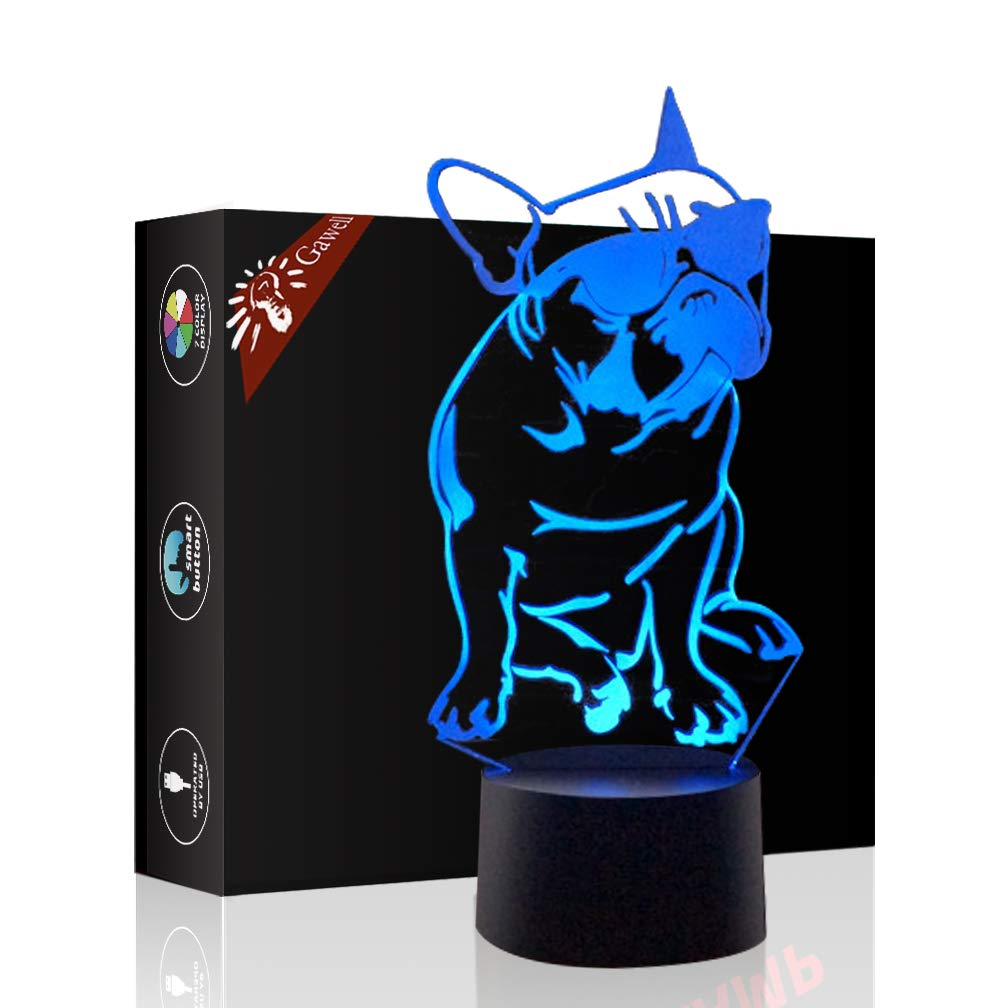 French Bulldog 3D Xmas Decoration Illusion Night Lamp Beside Table Lamp, Gawell 7 Color Changing Touch Switch Halloween Gift Lamps with Acrylic Flat & ABS Base & USB Cable Dog Lover Theme Toy fadou-3D-2018