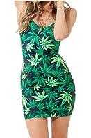 Ensasa Women's Fashion Sexy Marijuana Leaf Printed Sleeveless Bodycon Dress