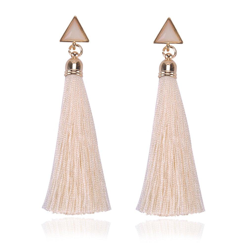 NOVMAY Womens Handmade Tassels Earrings for Women Girls Drop Earrings Dangle Earrings (Beige)