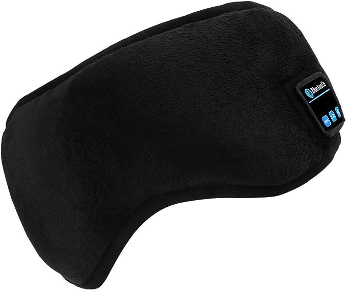 Black Bluetooth Sleep Eye Mask Wireless Headphones TOPOINT Upgrade Sleeping Travel Music Eye Cover Bluetooth Headsets with Microphone Handsfree Long Play Time