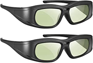 Elikliv 3D Glasses Active Shutter Rechargeable 3D Eyewear Compatible with Epson Sony LCD Projector/Sony Panasonic Samsung 3D Active TV (Pack 2)
