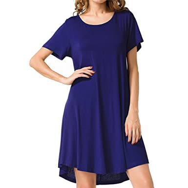 27ae41857932 Amazon.com: JULYKI Women T-Shirt Dresses Flowy Short Sleeve Dress Solid Loose  Shirt Dress: Clothing