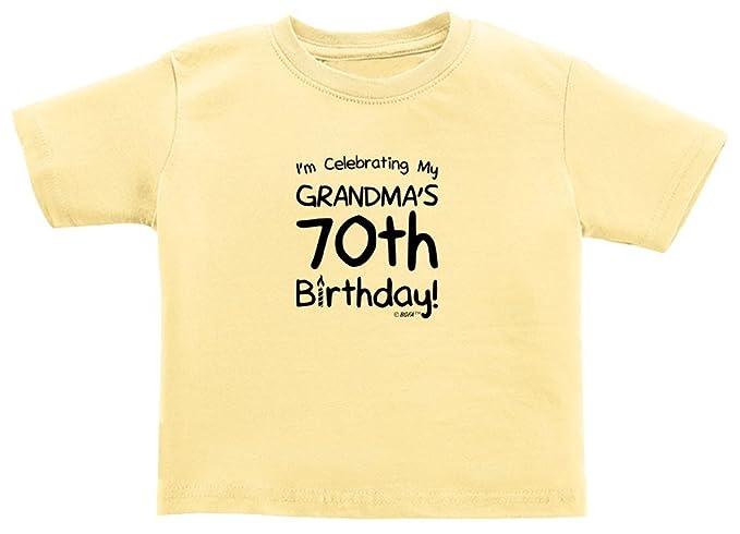 Baby Registry Gifts Celebrating My Grandmas 70th Birthday Toddler T Shirt 2T Banana