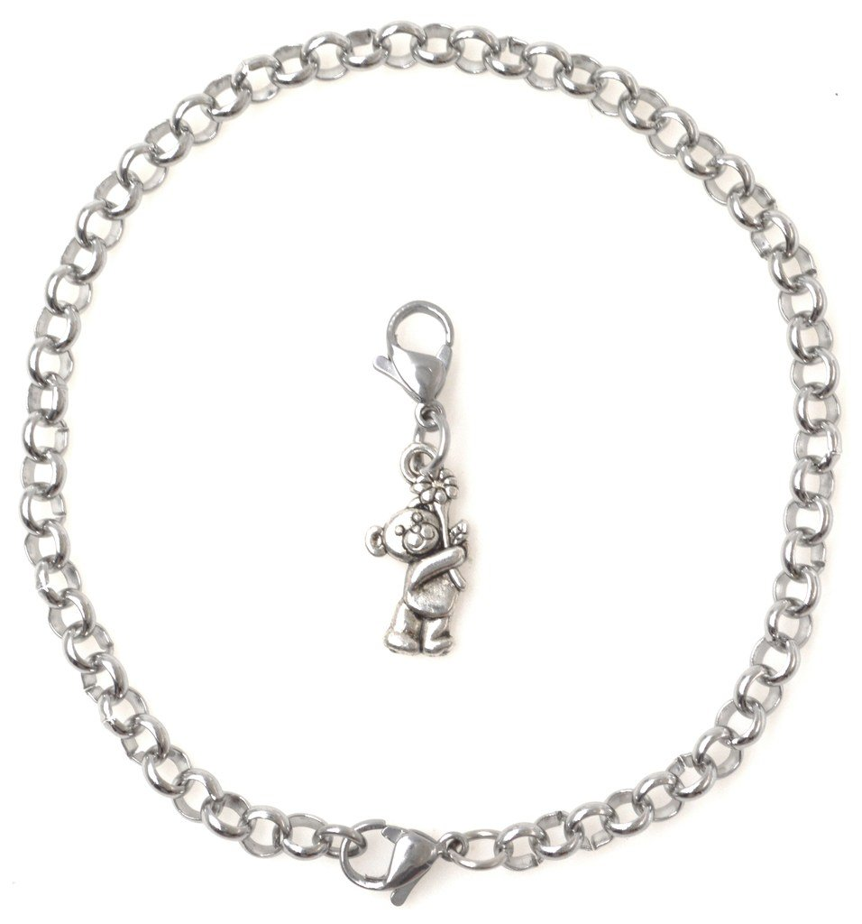 """2 PC SET: Adjustable 8.5"""" Stainless Steel Starter Charm Bracelet and Clip on Charm Bear with Flower 2PB 40G"""