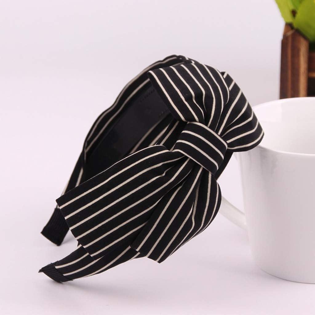 Cerchietto per capelli da donna Unwstyu stile vintage con grande fiocco increspato e motivo a pois