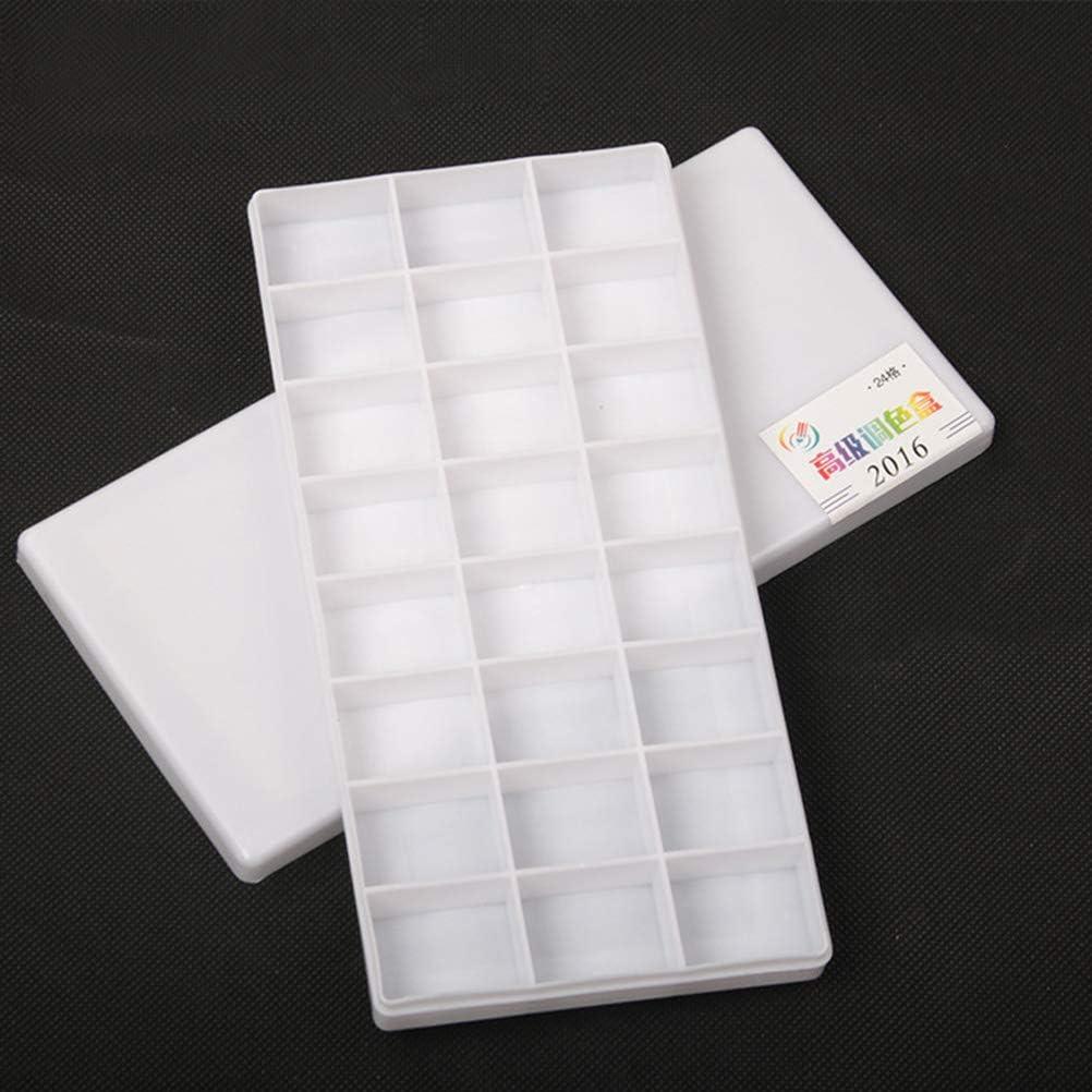 Blanco SUPVOX Paints Paleta Box 24 Wells Sealed Paints Contenedor para Acuarelas Contenedor con Tapa para Acuarela Acuarelas de Boca