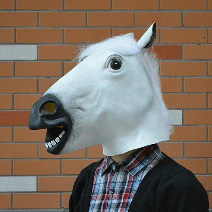 Siswong Mascara Caballo Látex de la Cabeza de Caballo para El Partido Disfraces Maquillaje Carnaval Accesorios Profesional Animales Costume (Blanco): ...