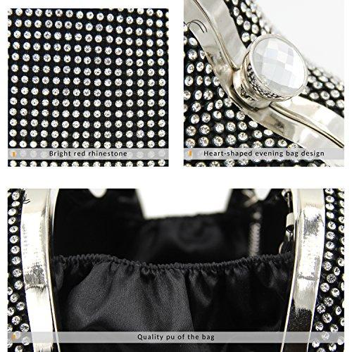 Glitter Black Clutch Milisente Bag Women Purse B Rhinestone Vintage Evening Bags qYYzrwt