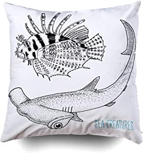 Musesh Holiday Throw Pillow Case, Sea Creature Red Lionfish and Great Hammerhead Shark Engraved Hand Drawn in Old Sketch Vin for Sofa Home Decorative Pillowcase 16X16Inch Pillow Covers