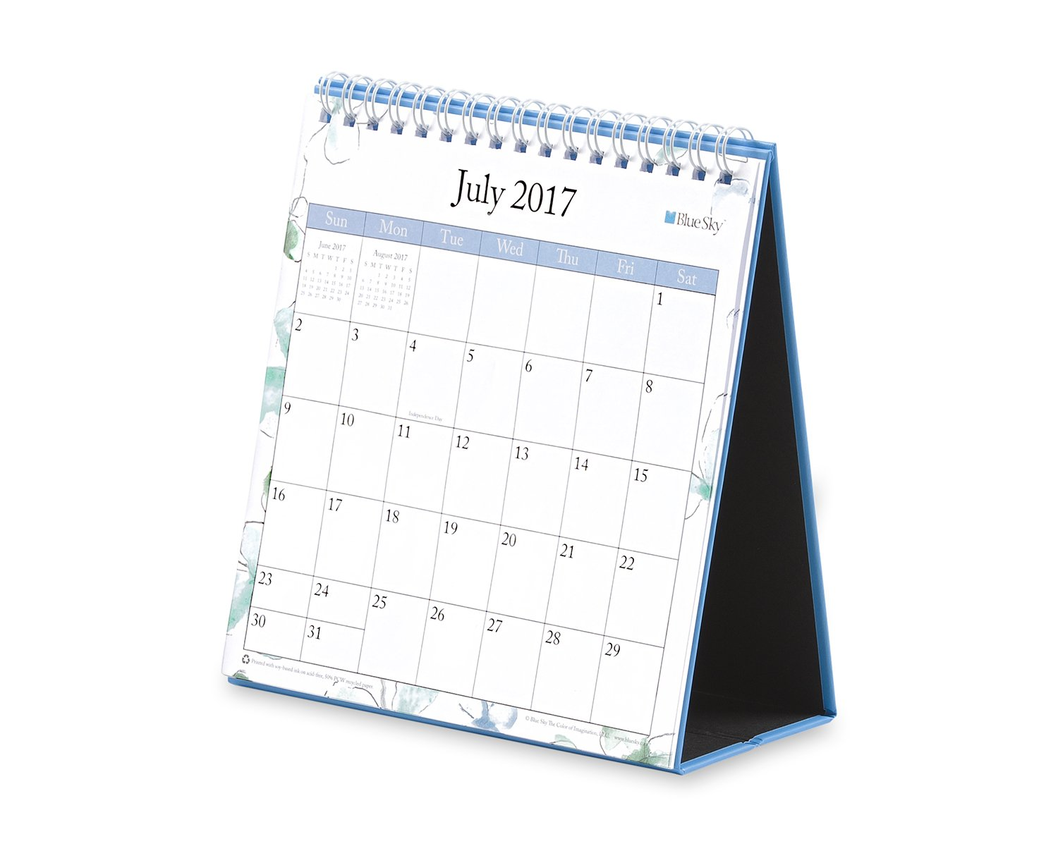 Blue Sky 2017-2018 Academic Year Monthly Desk Calendar with Stand 6 x 6.3 Lindley Twin-Wire Bound