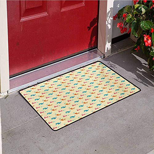 Cat Universal Door mat Colorful Jumping Cat Silhouettes Playing with Yarn Balls Meow Pattern Childish Cheerful Door mat Floor Decoration W23.6 x L35.4 Inch Multicolor