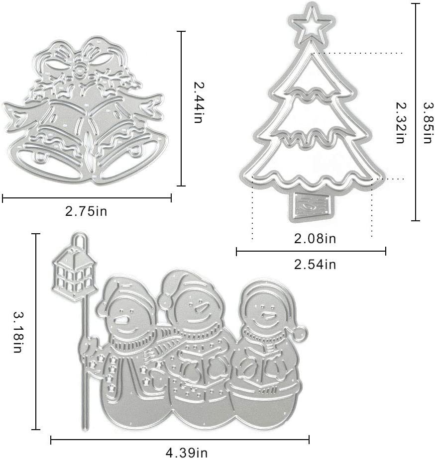 Metal Christmas Bell Tree Cutting Dies Embossing Stencil Mold for Card Making Album Stamps Snowman Template Tool for Scrapbooking Paper DIY Christmas D/écor Paper Craft
