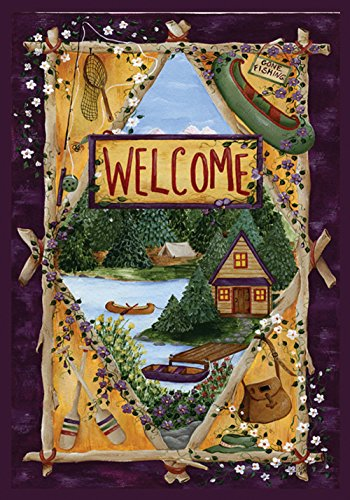 Toland Home Garden Lakeside Welcome 28 x 40 Inch Decorative Outdoors Lake Cabin Canoe Fishing House Flag