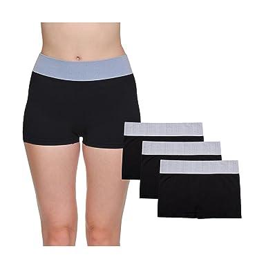 975953af9cdeb LastFor1 Women Breathable Underwear Boyshorts Panties Briefs Plus Size 3  Pack Black S