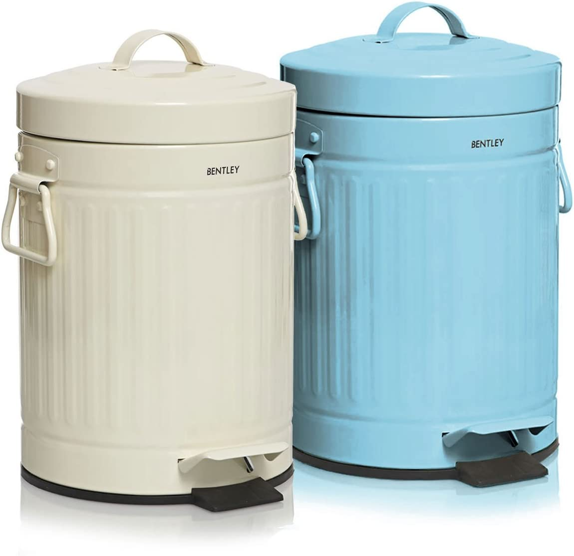 Charles Bentl 3L Cream Retro Steel Waste Rubbish Kitchen Bathroom Mini Pedal Bin
