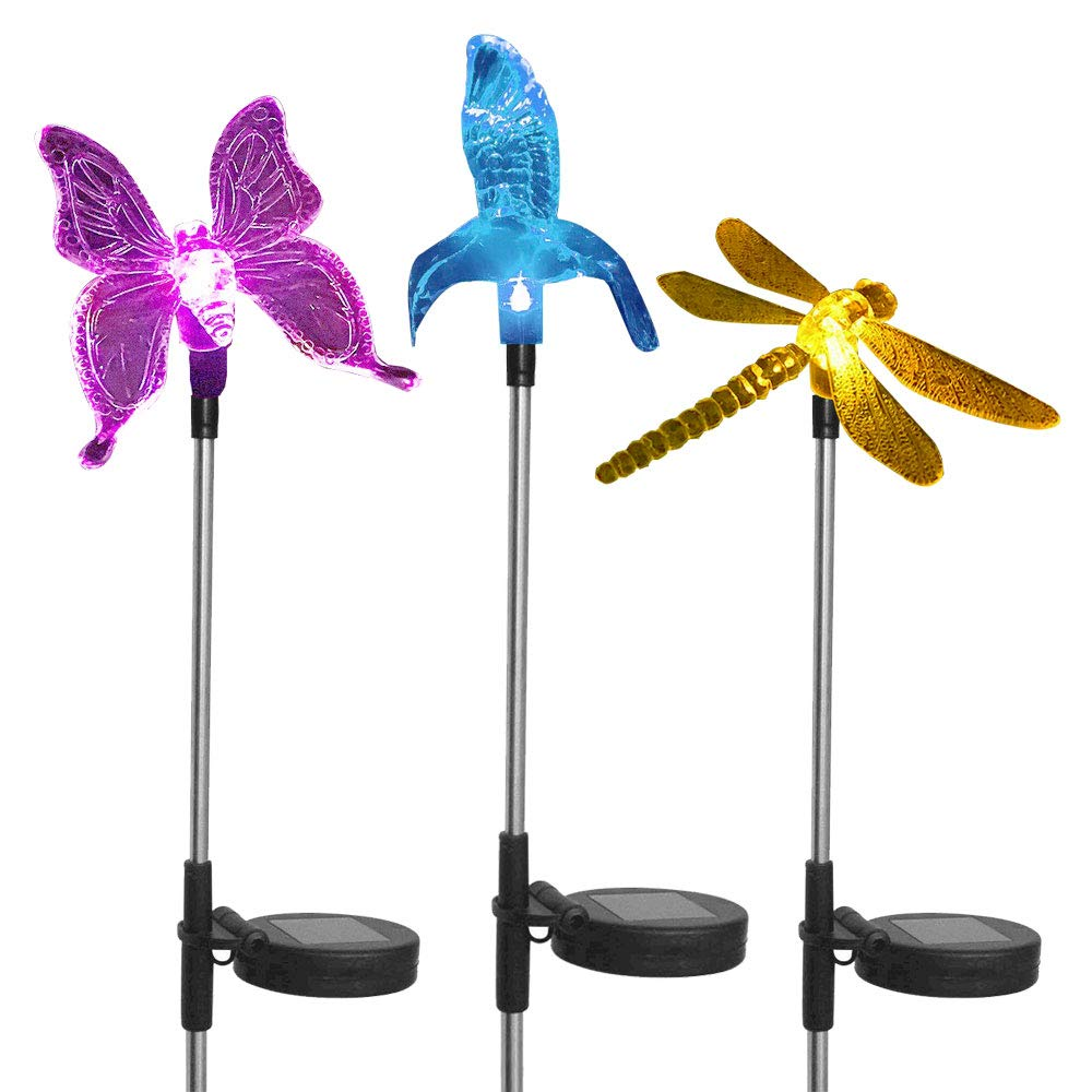 Solar Stake Garden Landscape Color Changing Light, Hummingbird, Butterfly, Dragon Fly, Color Changing LED Wireless Solar Light 3PC Decor for Fence, Yard, Gardens, Flowerbed by ASTRAEUS