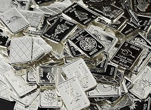 (15 Solid Silver One Gram .999 pure Silver Collectable Art Bars with random designs in a jewelry pouch)
