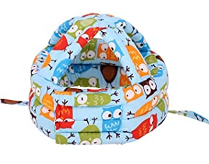 Toddler Baby Safety Helmet Children Headguard Infant Protective Harnesses Cap Adjustable Printed Head Guard Head Protector,Blue