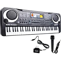 JINRUCHE Digital Music Piano Keyboard 61 Key Multi-function Portable Electronic Keyboard Musical Teaching Toys Instrument with Microphone For Kids Children Birthday (Black)