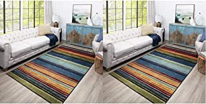 Mohawk Rainbow Area Rug, 6'x9', Multi & ow Printed Area Rug, 2'x5', Multi