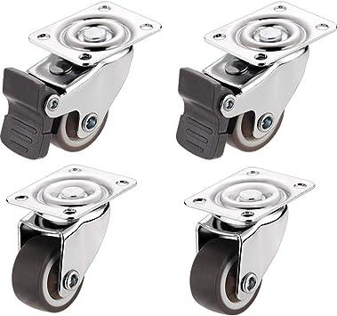 ruedas de goma no giratorias para muebles y mesas Juego de ruedas peque/ñas de 25 mm de grosor para carrito de mesa
