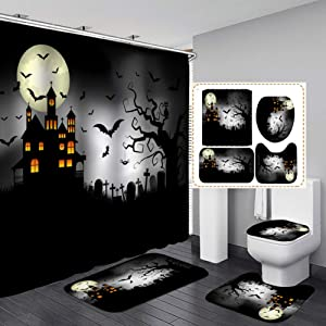Haunted House Halloween Shower Curtain Sets, Gerneric 71 Inch X 71 Inch Halloween Bathroom Decorations Set -Shower Curtain with Rugs,Toilet Lid Cover,Bath Mat - Halloween Bathroom Decor with 12 Hooks