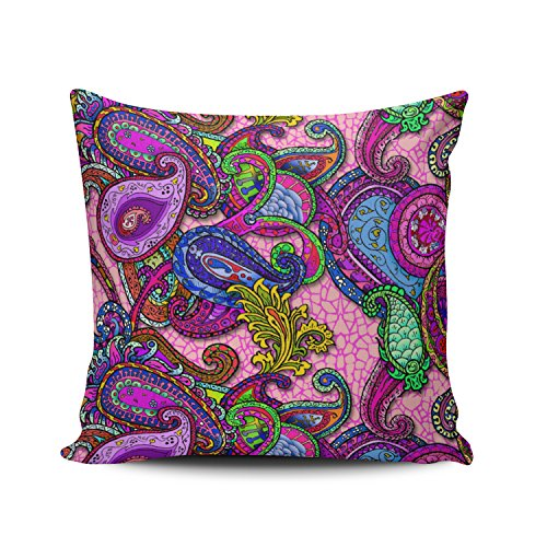 Hoooottle Pretty Melange Paisley with Pink Pillowcase Home Style Decorative Throw Pillow Cover Cushion Case Square size 16