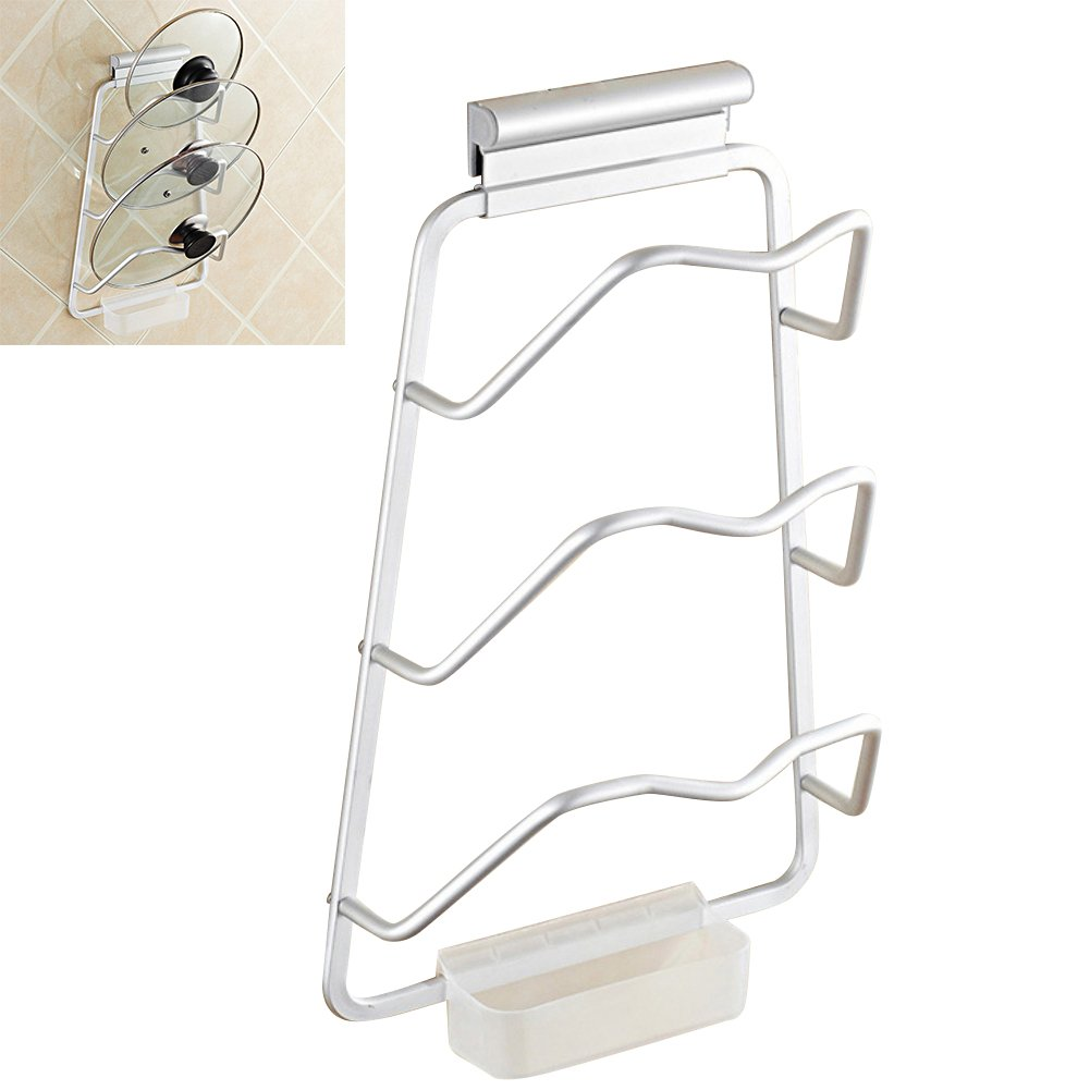 HoststyleZ Pot Lid Rack Holder Organizer, Heavy Duty Wall Mounted Pan Pot Lids Holder with Drain Tray for Kitchen Utensils Cooking Tool, Aluminum Alloy