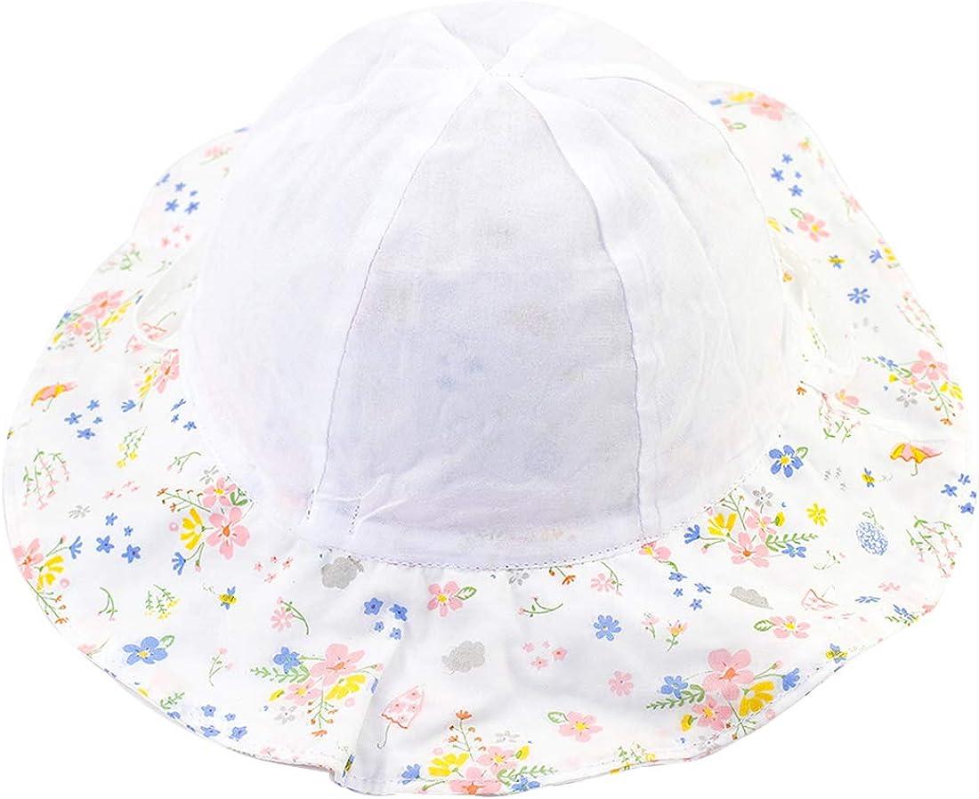 Snyemio Sombrero de Sol Ni/ña Algod/ón Pescar Gorro Estampado Flores Verano Anti UV Solar para Viaje Playa Piscina
