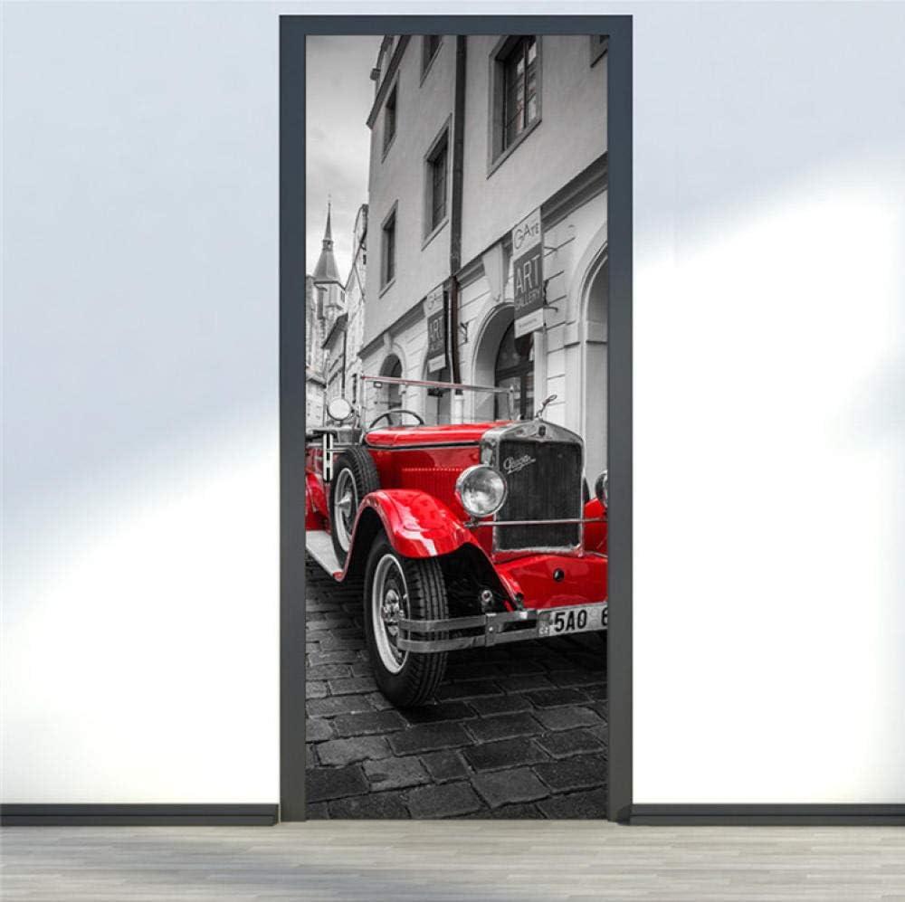 3D Etiqueta De Puerta Autoadhesiva Extraíble Impermeable Coche Rojo Diy Adhesivo Decorativo De Puerta Vinilos Decorativos Para Puerta Pared Cocina Sala De Baño 77X200Cm