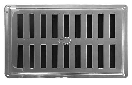 Ajuste aire Vent Inox 22.5 x 15 cm (225 x 150 mm), rejilla de ventilación Rejilla Salida De Aire Rejilla de acero inoxidable no magnético), Regular, ...