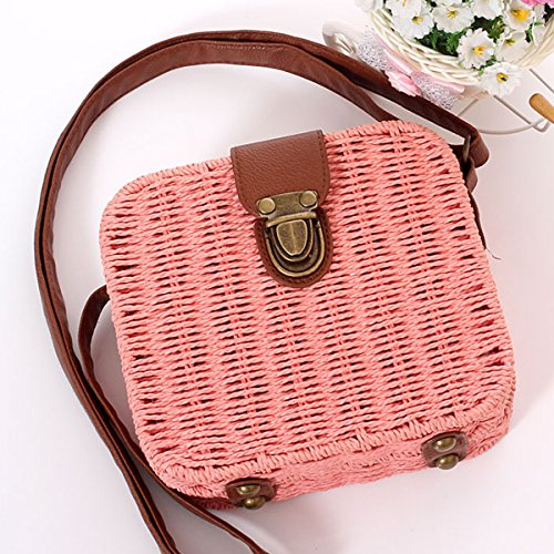 Handmade Bag Bohemia Rattan Tocking Bags Woven Beach Cross Summer Khaki Women Tick Handbag Body Straw cW07FnqFY