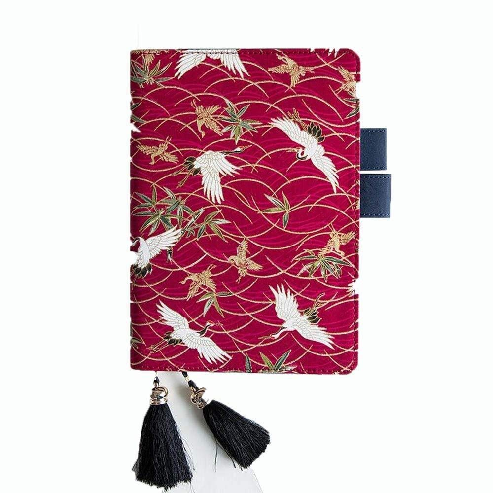 Embroidered Cover Notebook,PU Travel Journal Diary Writing Planner Notepad with Card Slot and Pen Slot,Tassel Bookmark (Color : B, Size : Lattice-A5)