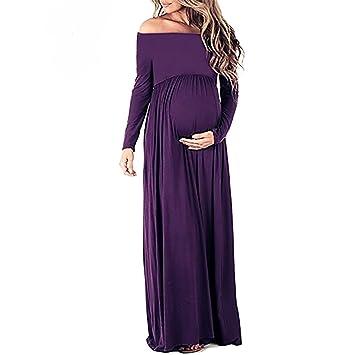 swall owuk Vestido de Mujer Embarazada Mujeres Máxima de Vestido Off Shoulder Manga Larga Vestido de
