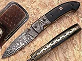 General Pocket Knife Damascus Steel Blade Horn Handle