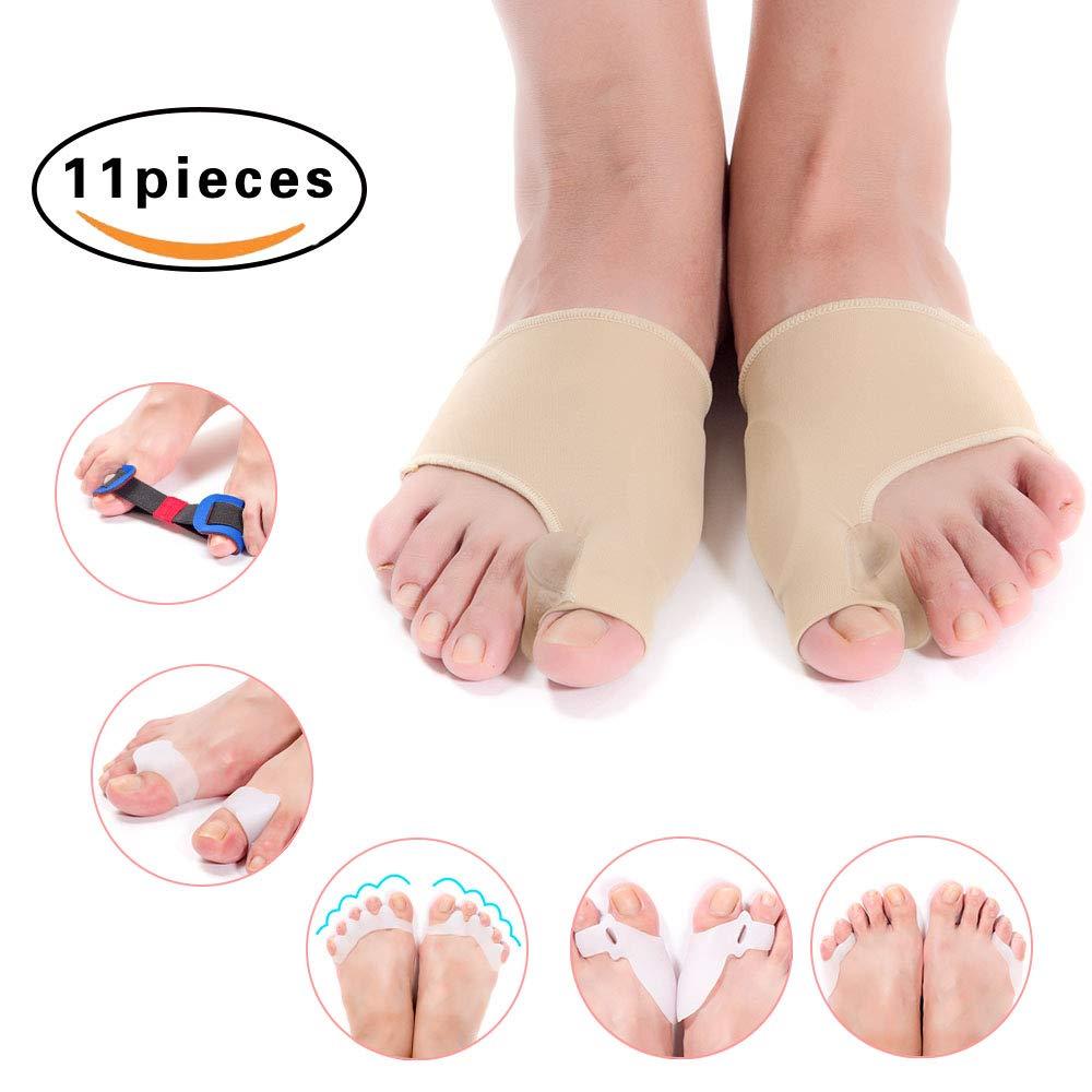 Bunion Corrector & Bunion Relief Toe Splint Kit, [11PCS] Big Toe Straightener Spacer Bunion Joint Protector Toe Separators for Women Men Kid, Treat Pain in Hallux Valgus Hammer Toe for Day & Night Use