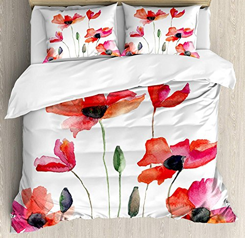 Watercolor Flower 4 Pieces Bedding Set King, Poppies Wildflowers Nature Meadow Painting Watercolor Effect, Duvet Cover Set Decorative Bedspread for Childrens/Kids/Teens/Adults, Green Orange Pink